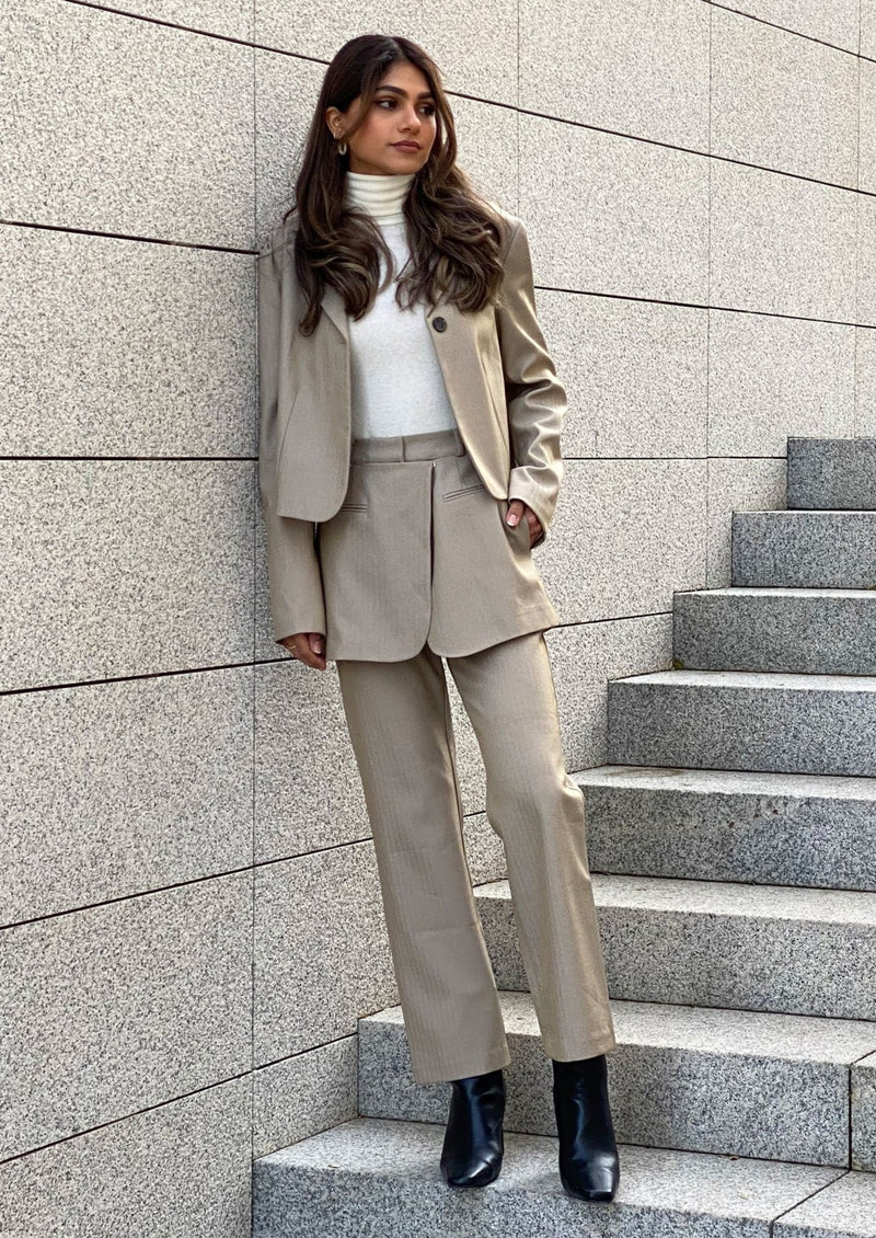 Skirt Overlay Suit Pants in Beige
