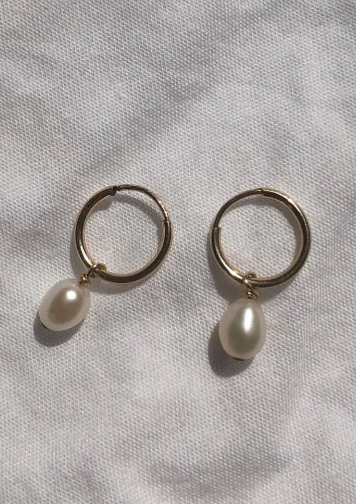 Tiny Drop Pearl Hoops