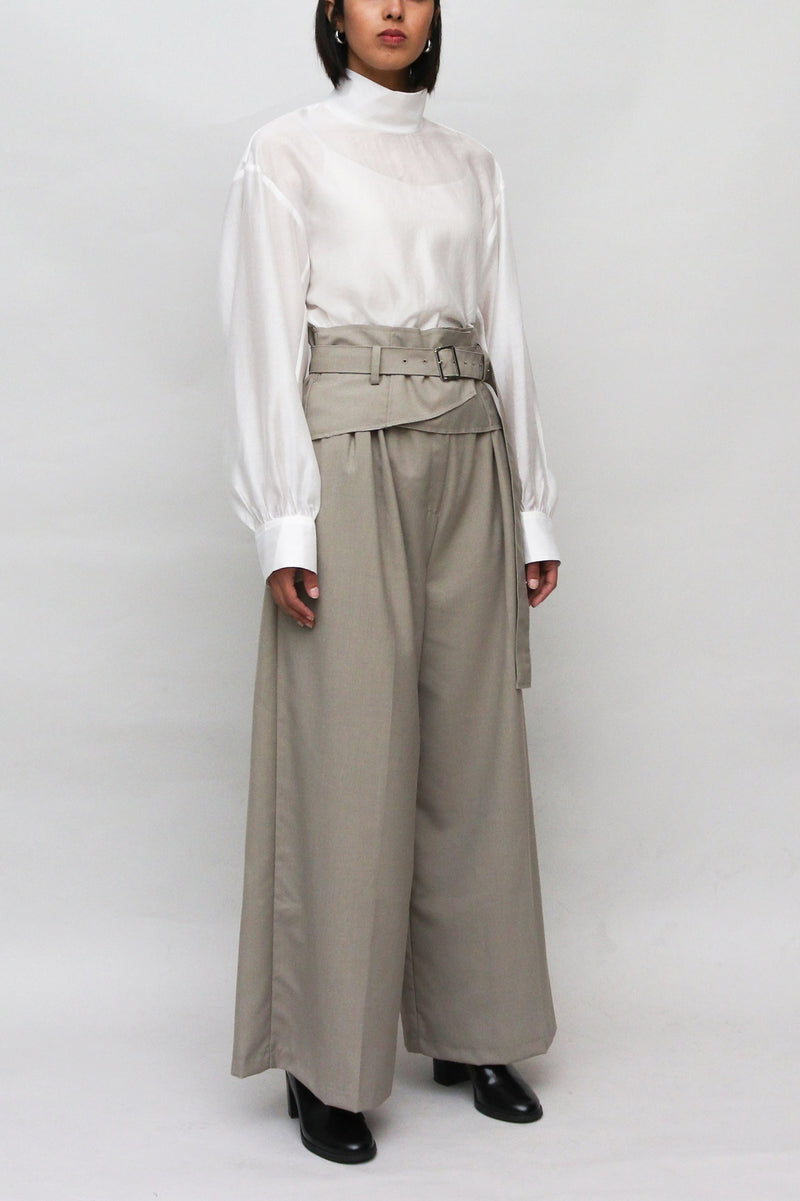 Grey Belted High Waisted pants