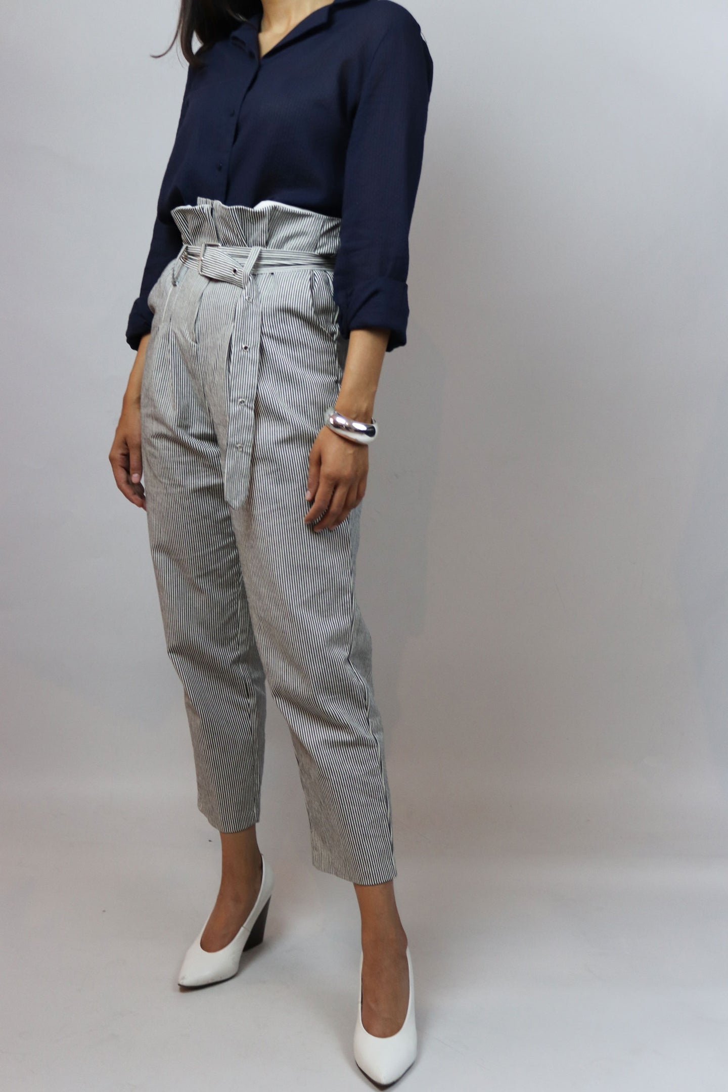 Striped High Waisted Casual Pants