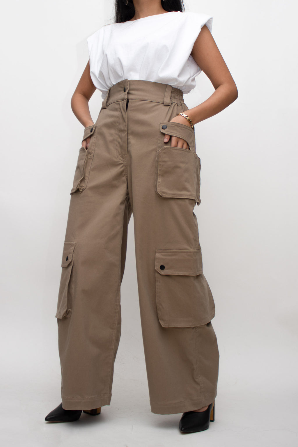 Khaki Wide Cut Cargo Pants