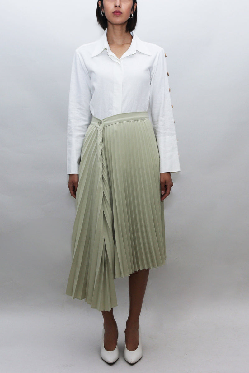 Mint Green Asymmetrical Pleated Skirt