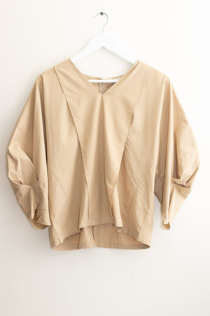 Beige V-neck Puff Sleeves Blouse