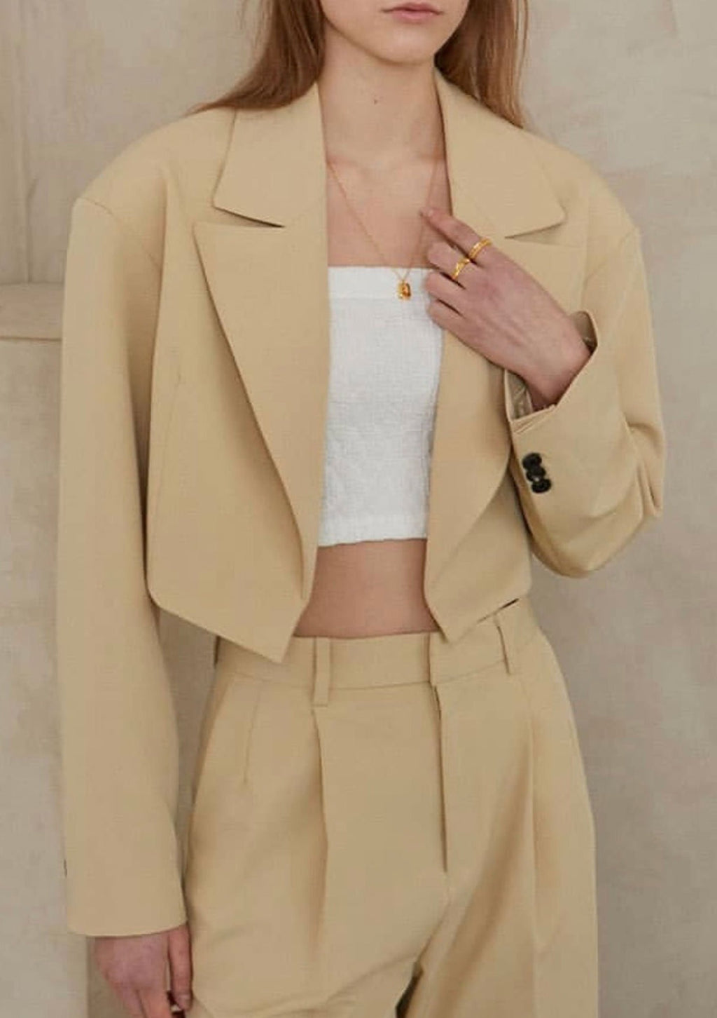 Cropped Open Blazer in Mellow