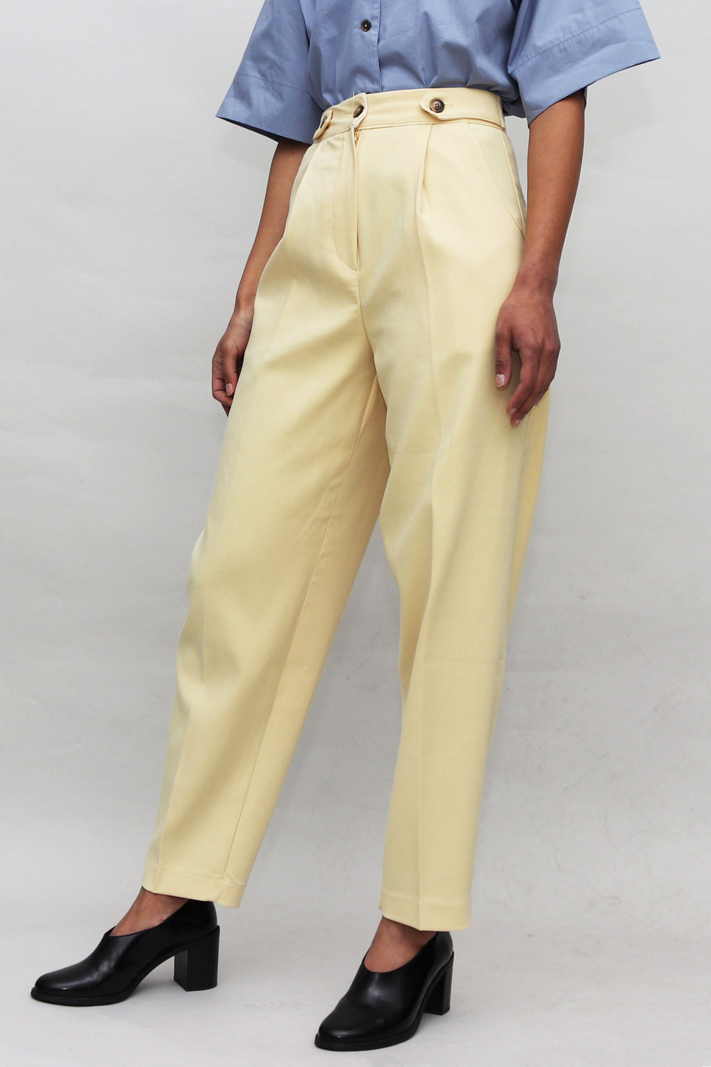 Pale Yellow Contrast Buttons High Waisted  Pants
