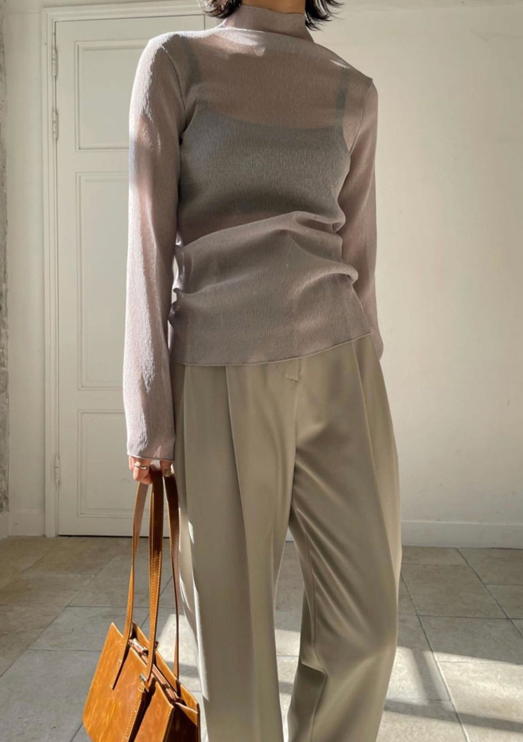 Sheer Grey Turtleneck Top