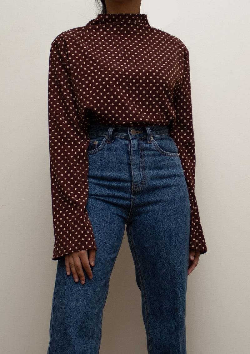 Brown Polka Dots Blouse