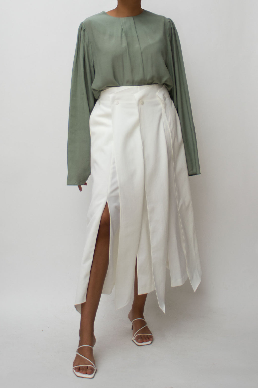 Ivory Pleats Slits Skirt