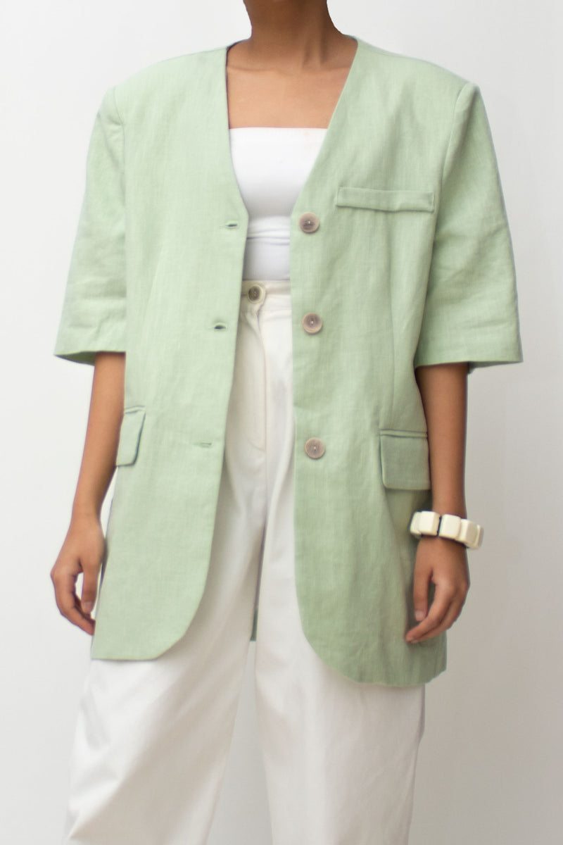Mint Green Linen Short Sleeve Blazer