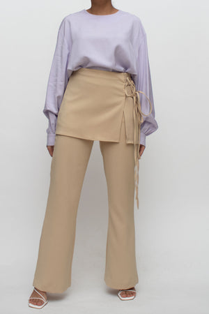 Beige Skirt Overlay Pants