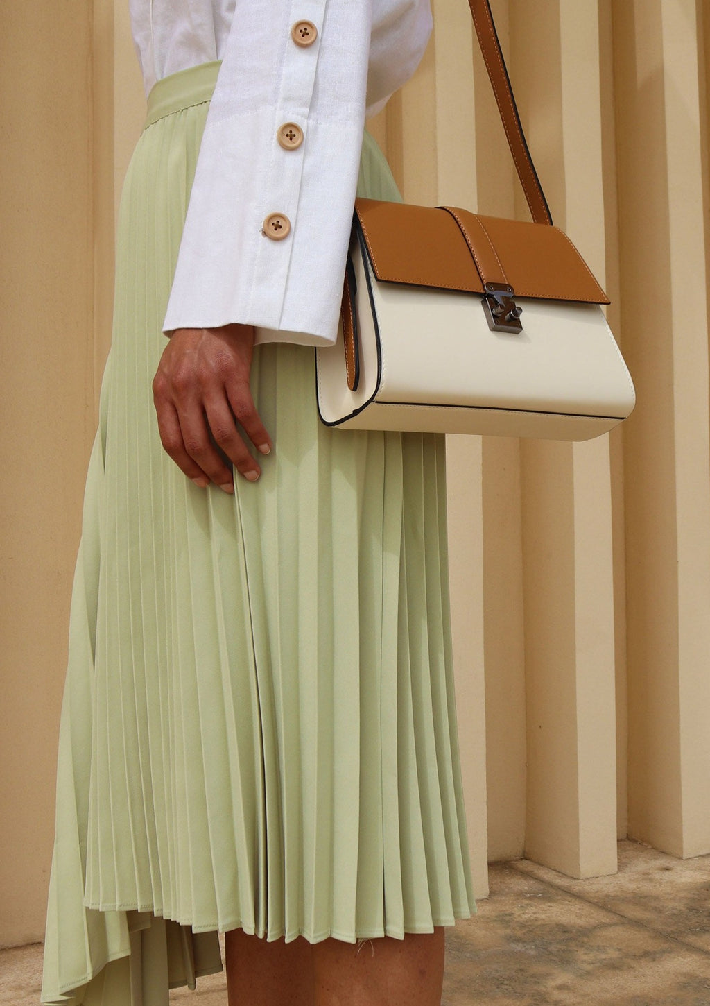 Cream and Brown Leather  Shoulder Bag