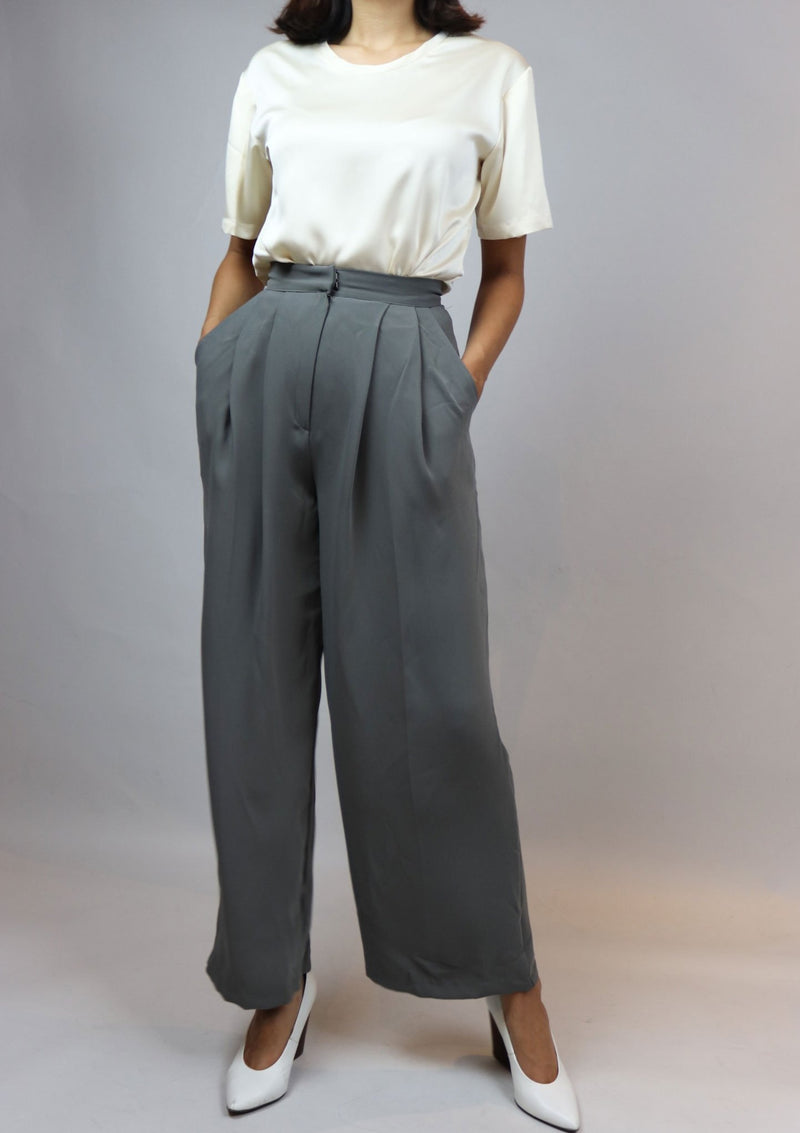 Grey High Waisted Silk Pants