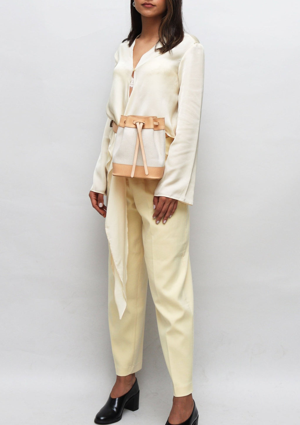 Tan Leather and Cream Bucket  Belt Bag