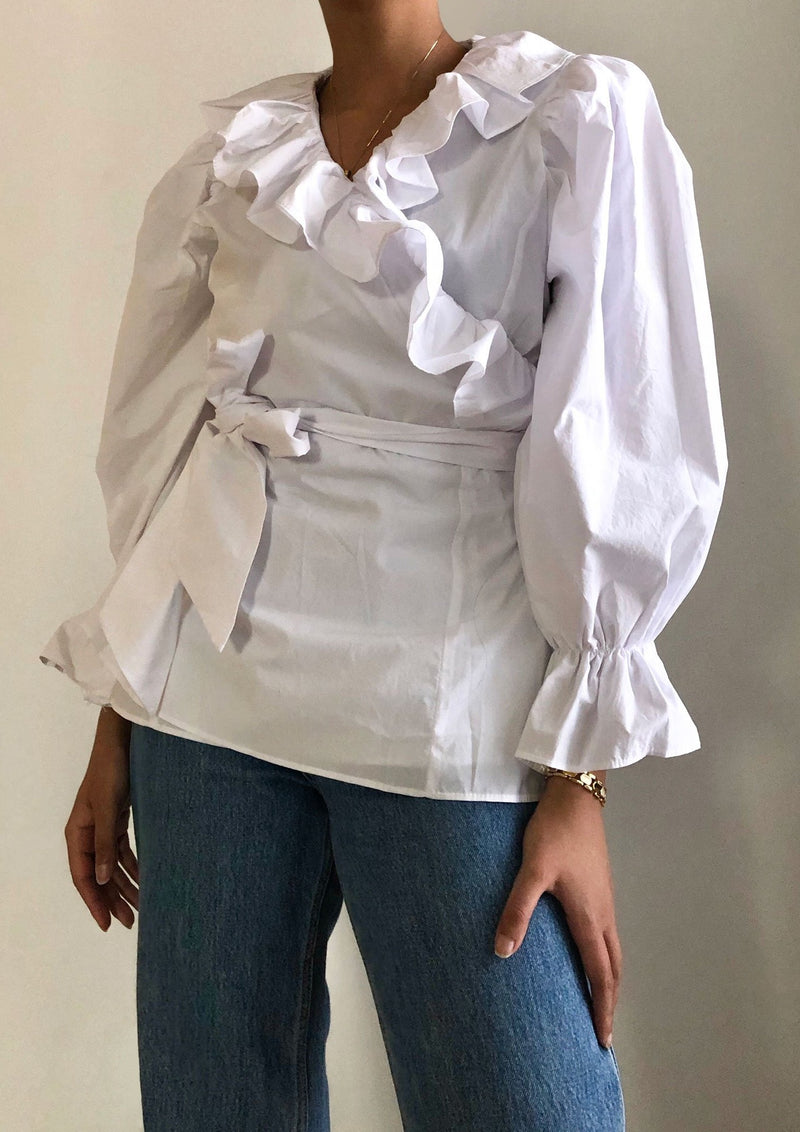 White Ruffle Wrap Blouse