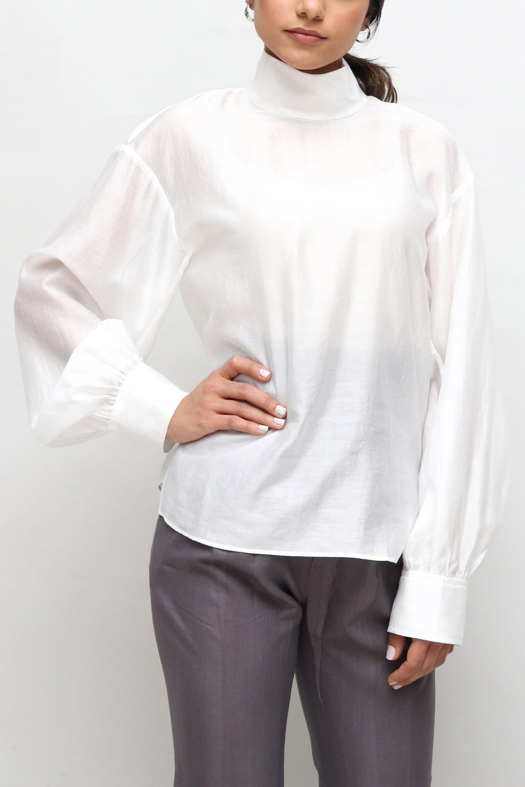 Pearly White See Through Blouse