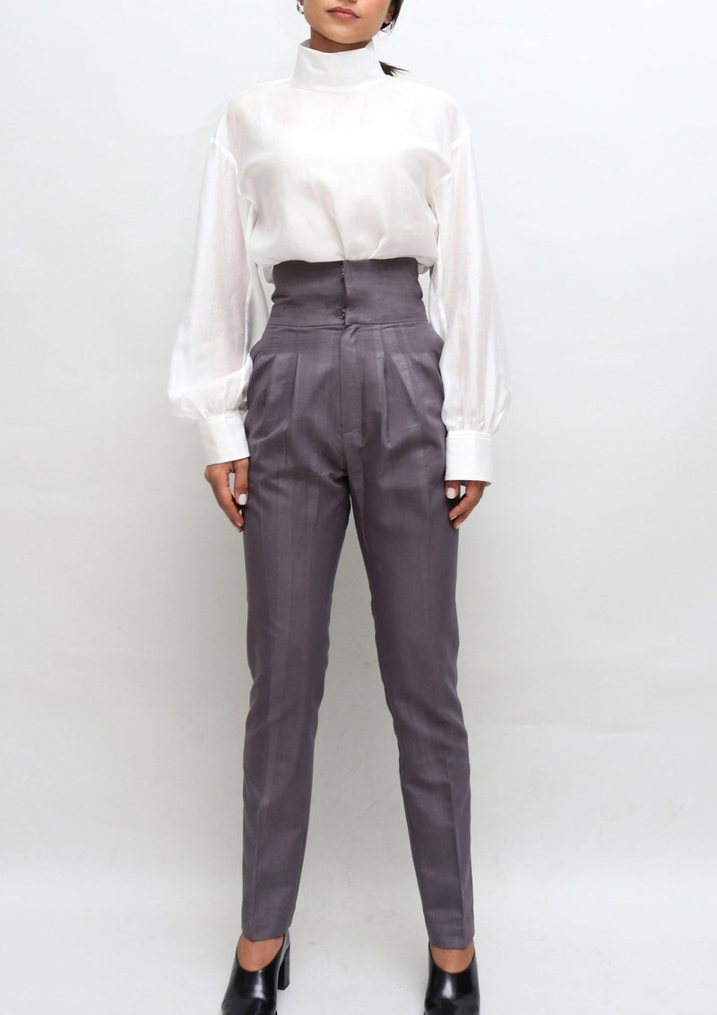 Grey Striped Slim High Waisted Pants