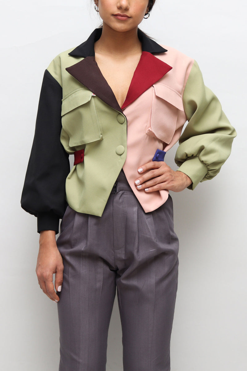 Color Blocked Blazer Jacket