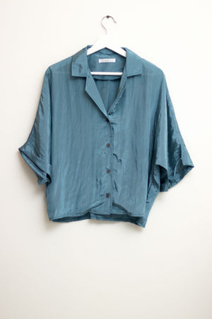 Blue Oversized Silky Top