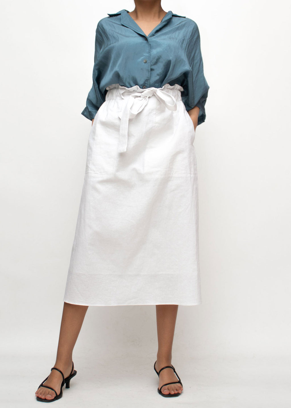 White Linen Tied Midi Skirt