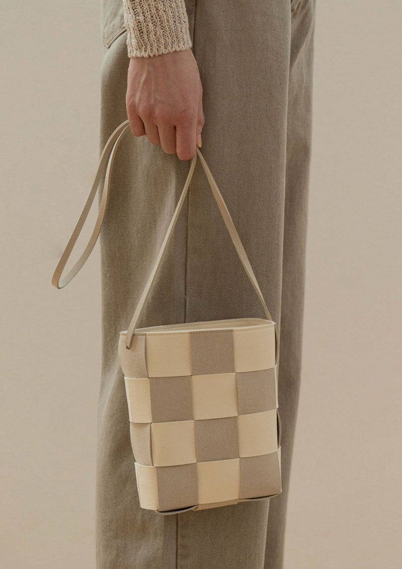 Beige Woven Shoulder Bag - Beige (Pre-order)