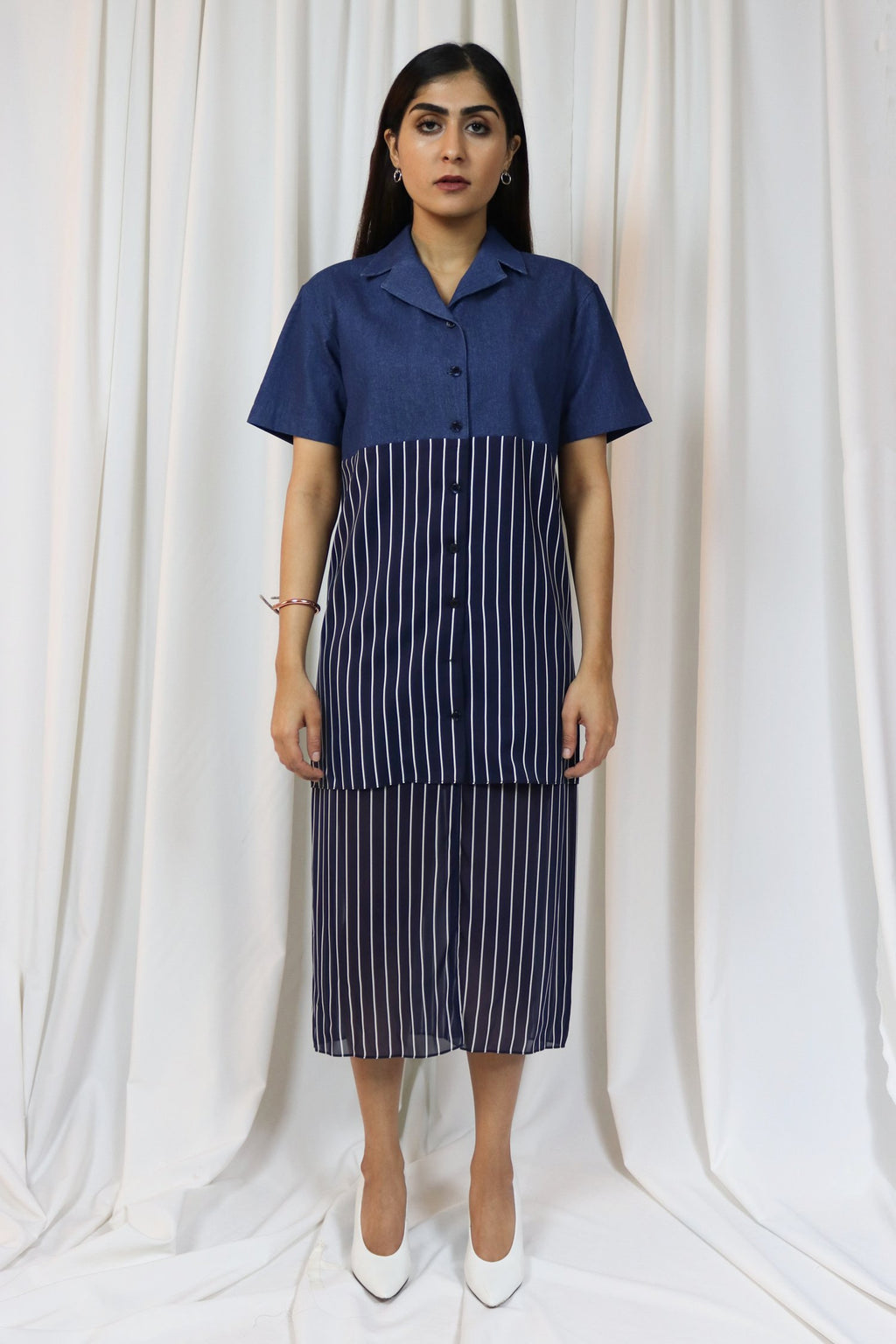 WANTS Denim Navy Chiffon layered dress
