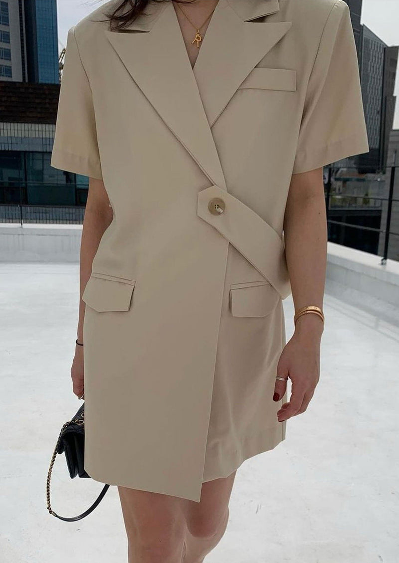 Short Sleeves Belted Blazer Dress in Beige