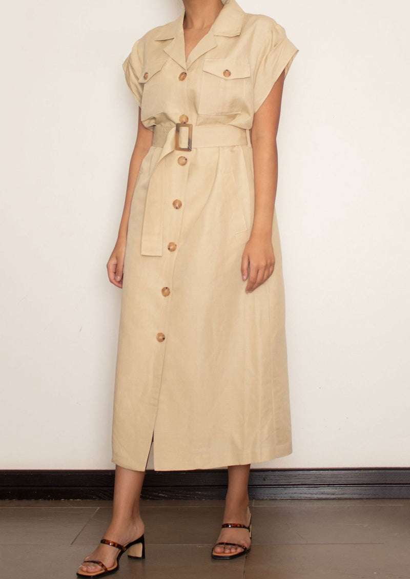 Short Sleeve Safari Beige Linen Dress