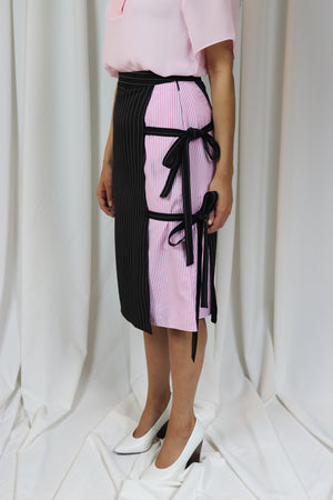 Rocket x Lunch Black Pink Pinstriped Wrap Skirt