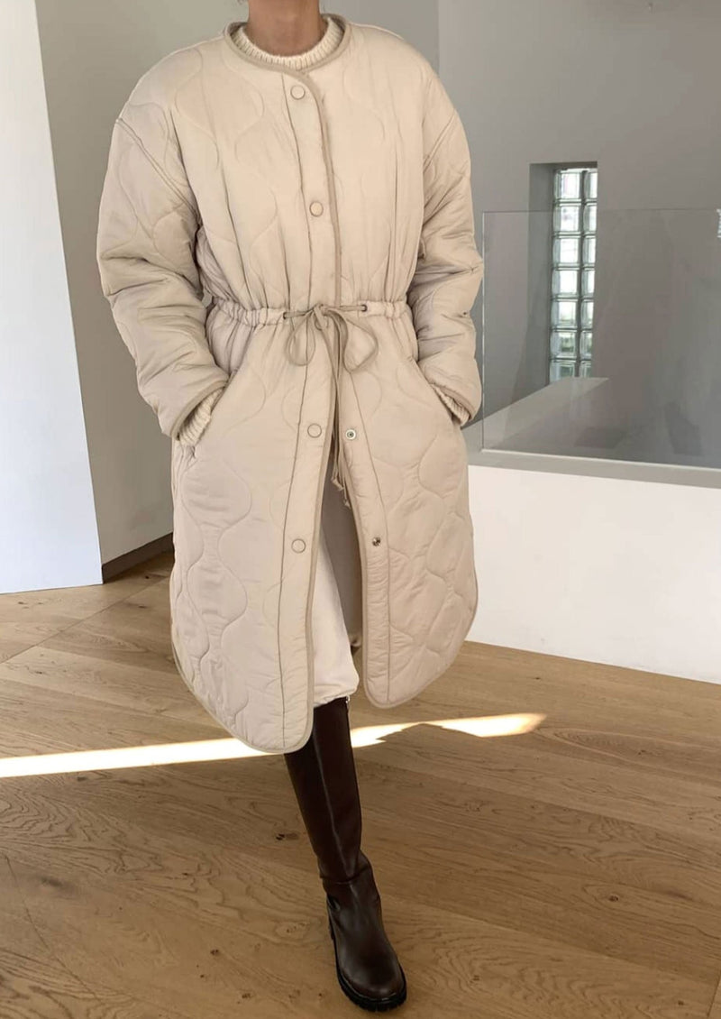 Long Quilted Coat in Beige