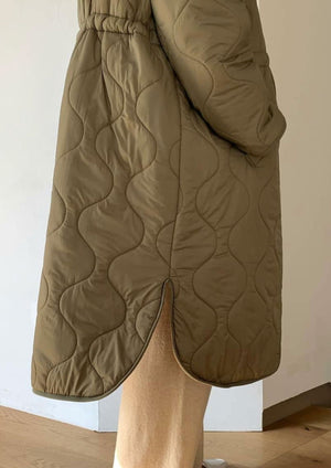Long Quilted Coat in Khaki