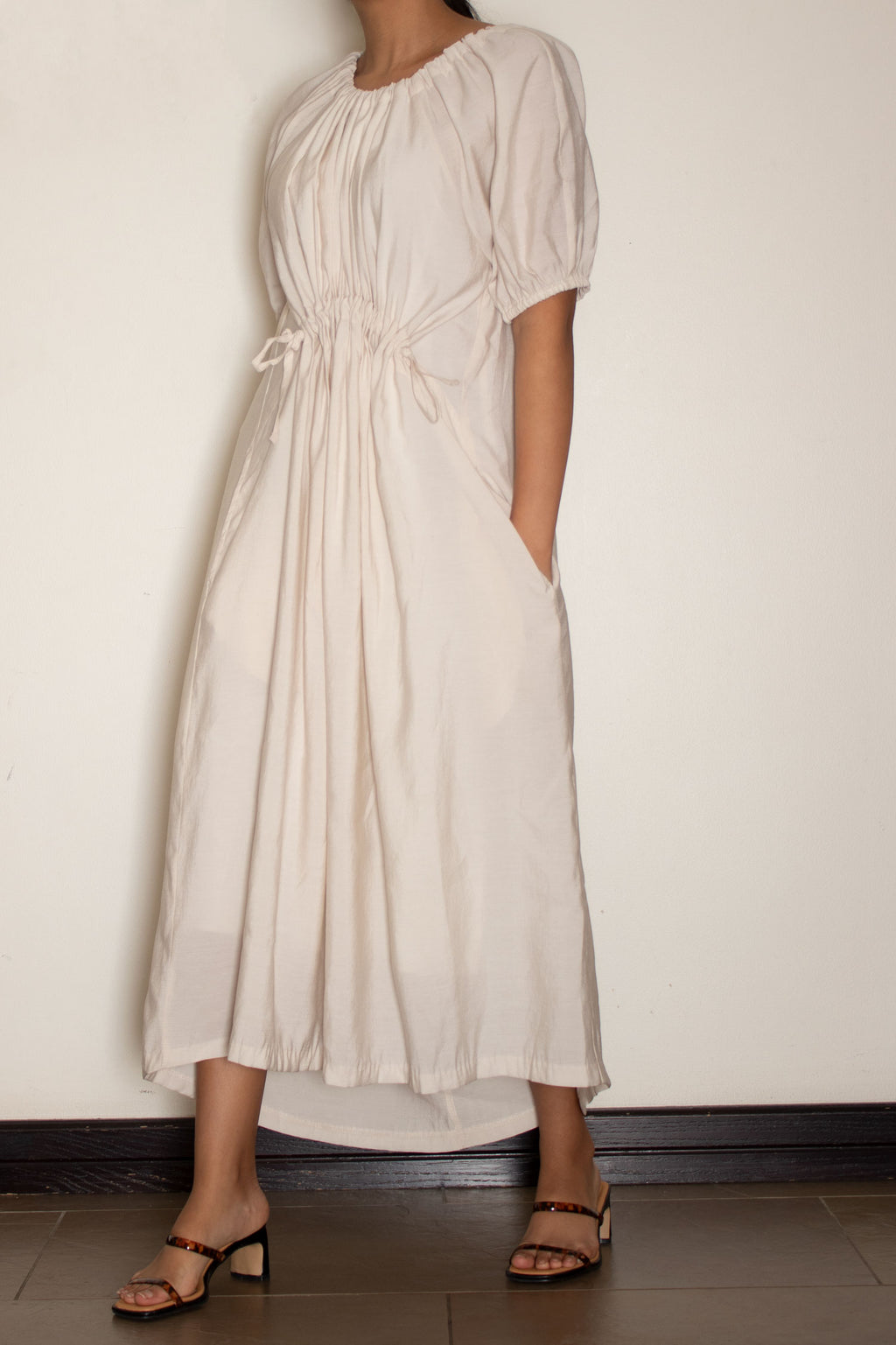 Cream Shirring Midi Dress