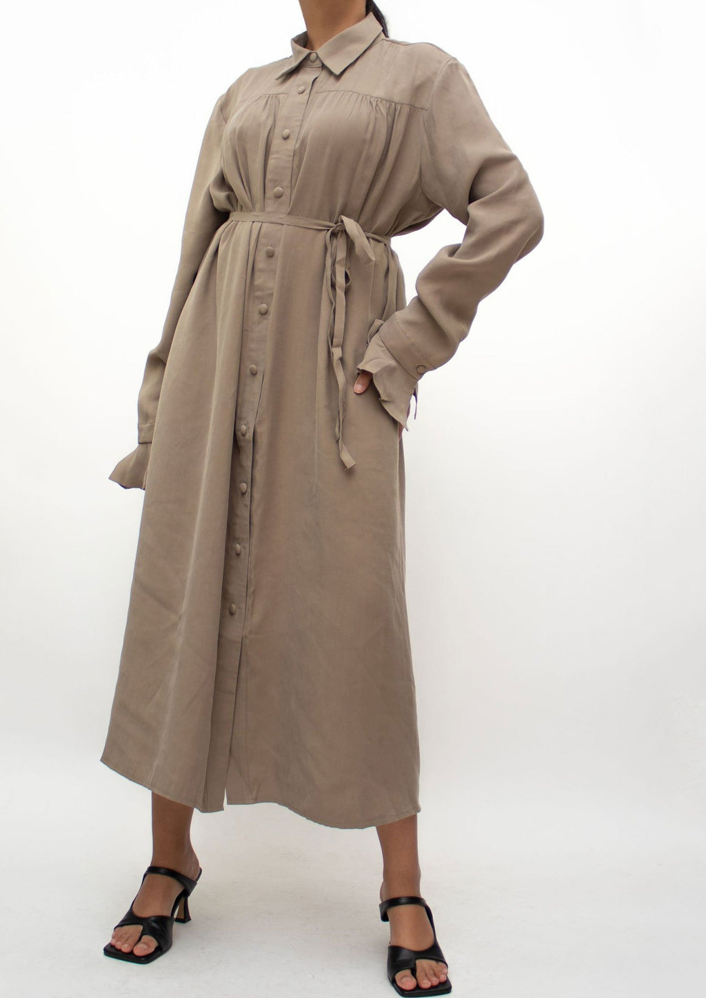 Khaki Long Tied Shirt Dress
