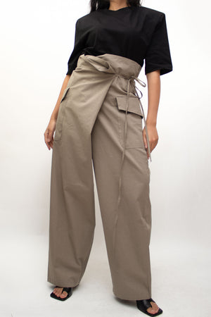 Khaki Wide Cargo Wrapped Pants