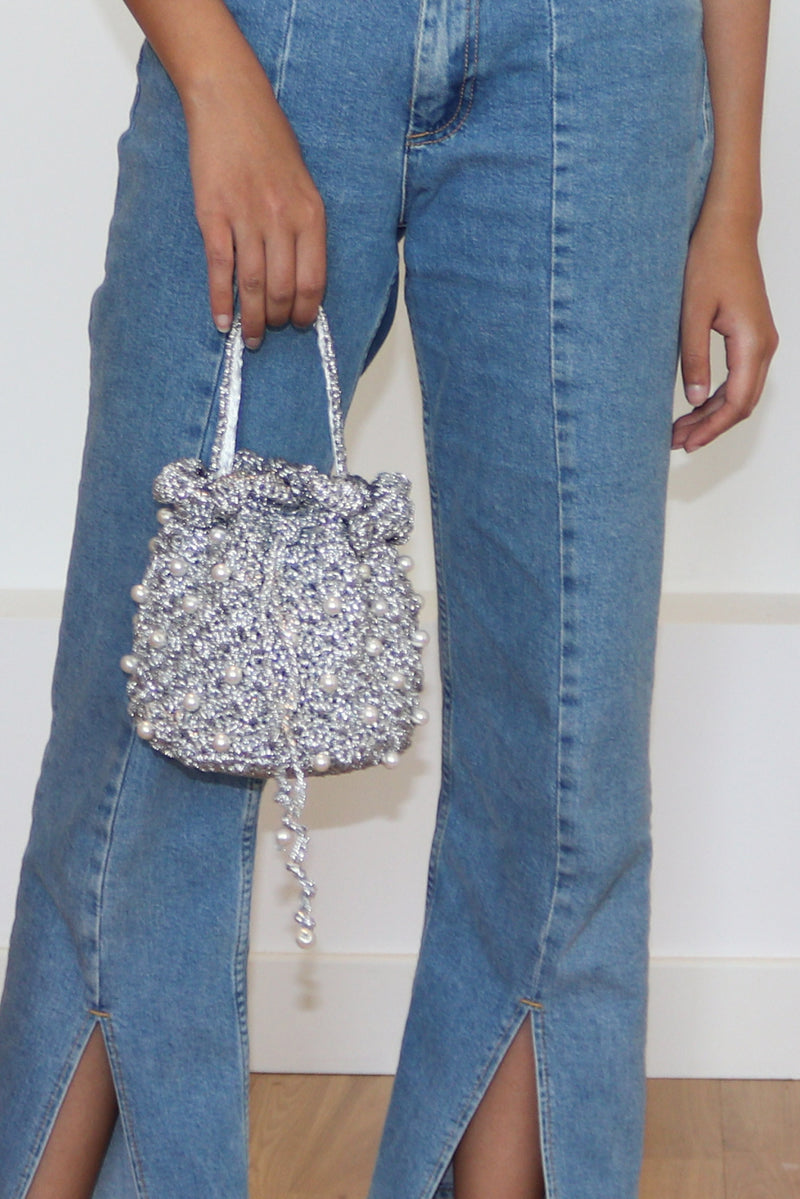 Silver Bucket of Pearls Bag