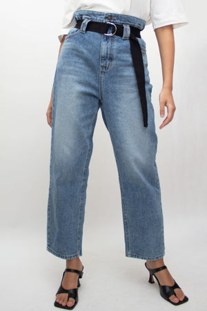 Blue High Rise Belted Jeans