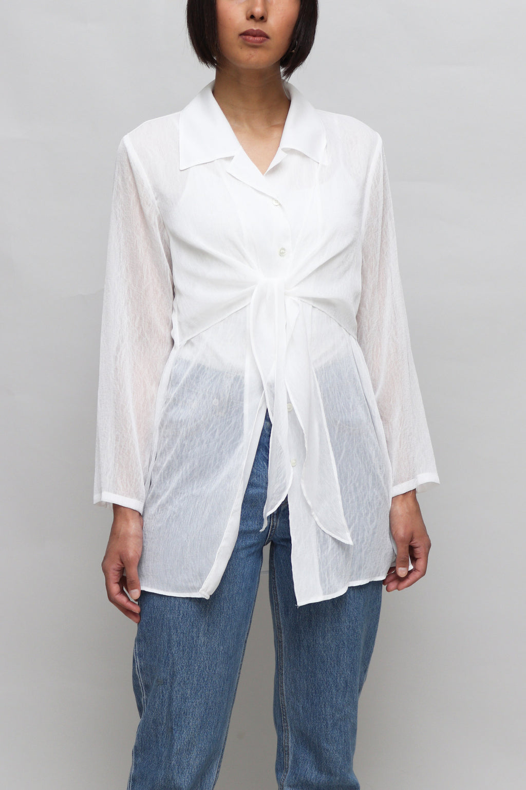 White Sheer Tied Blouse