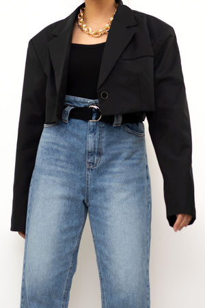 Black Single Breasted Cropped Blazer
