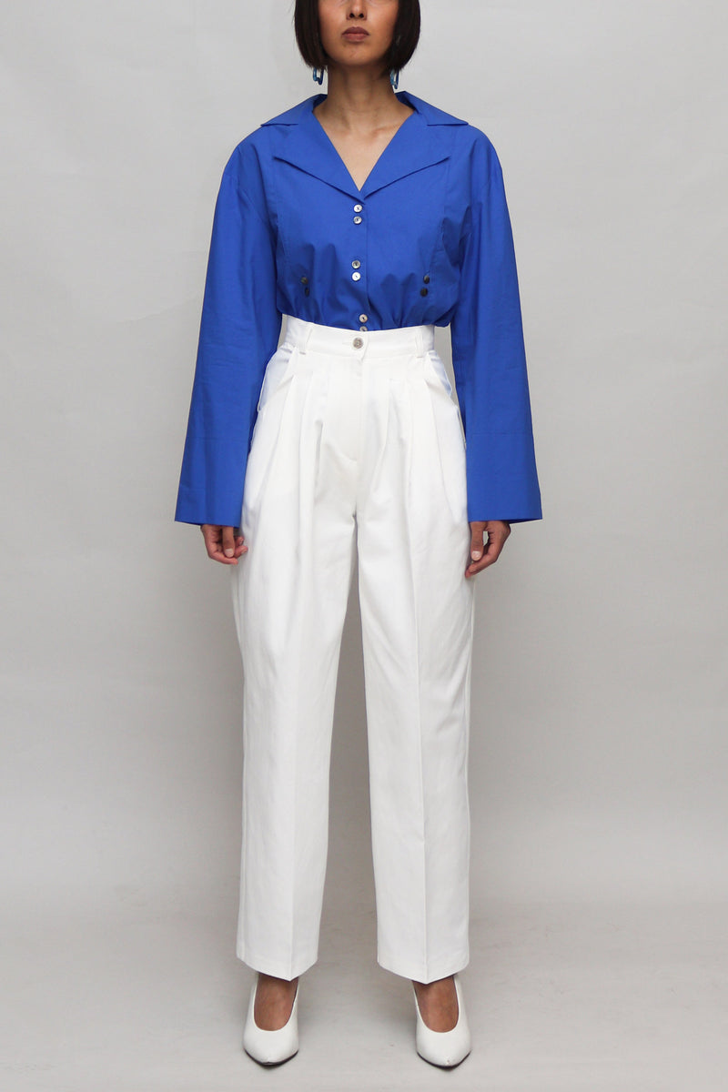 White High Waisted Cotton Pants