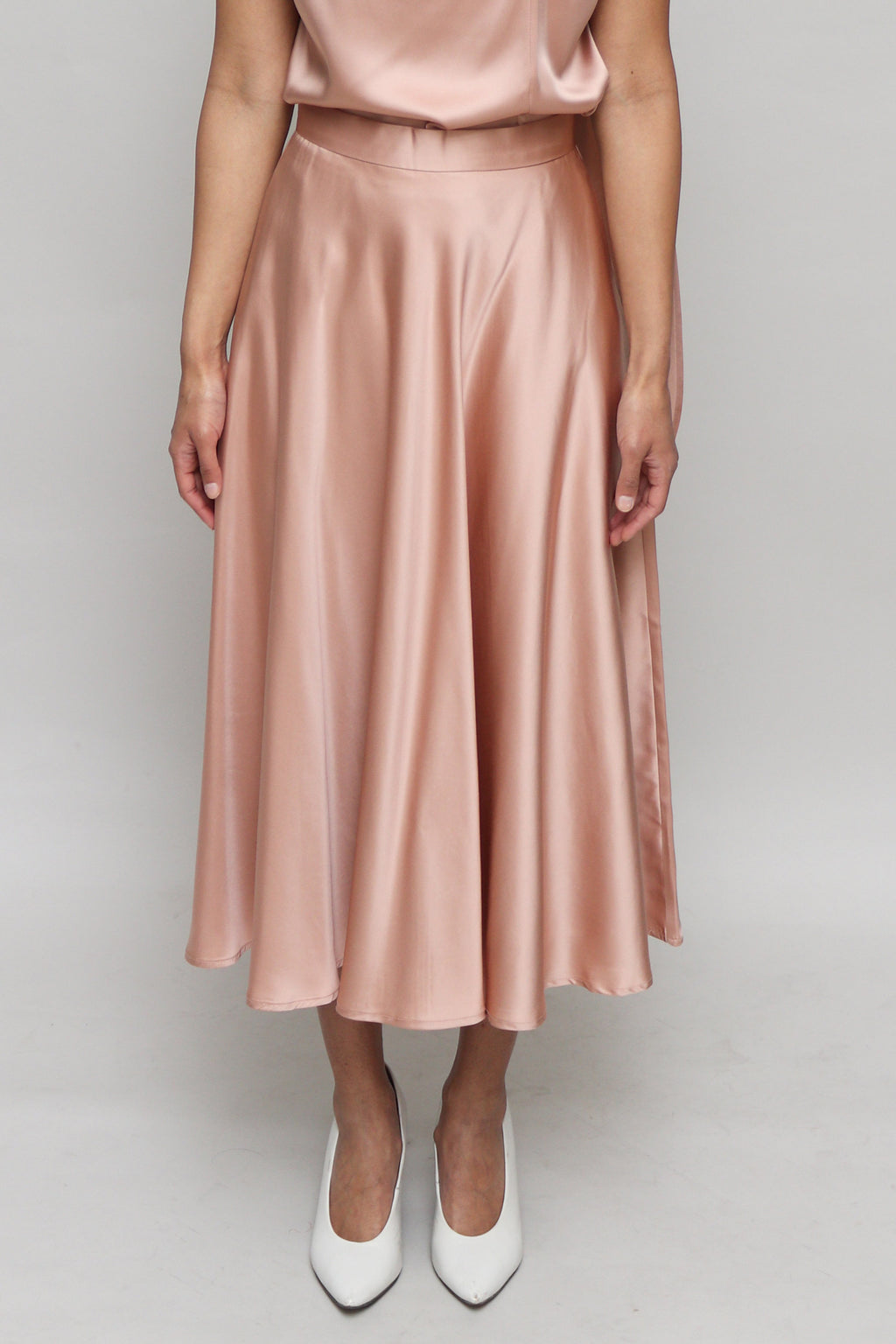 Copper Silk Midi Skirt
