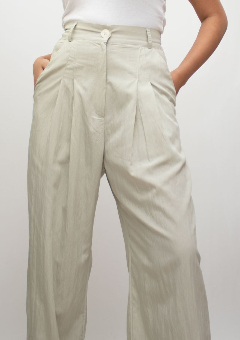 Mint Green Pleated High Waist Pants