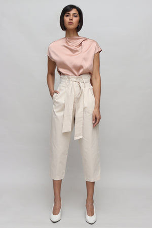 High Waisted Beige Paperbag Pants