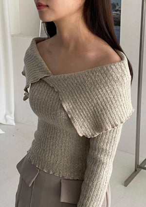 Beige Off-Shoulder Fitted Knit Top