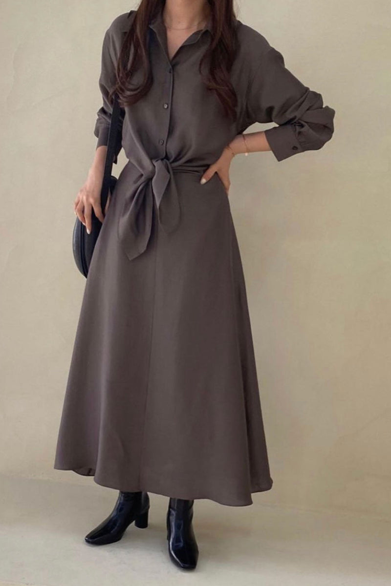 Brown Front Tied Long Dress