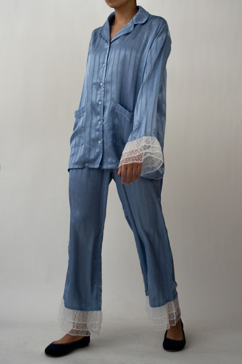 Blue Satin Striped Pyjama Set
