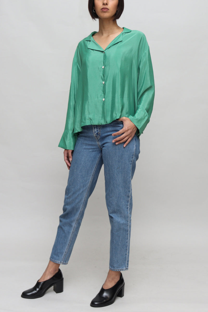 Green Shiny Buttoned Blouse