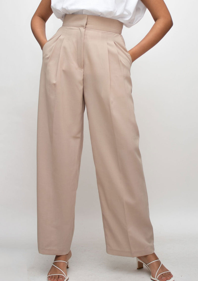 Beige High Waisted Wide Pants