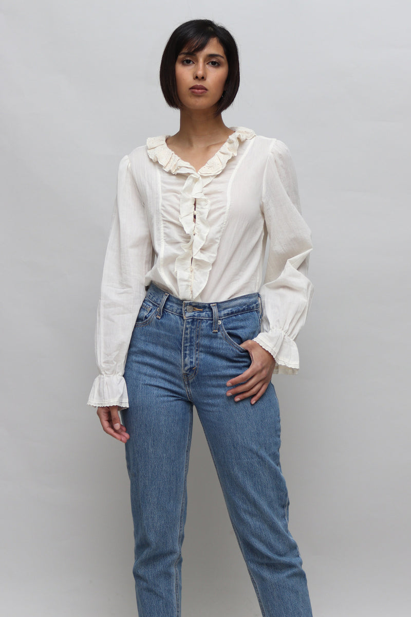 Ruffle Cream Frill Sleeves Blouse