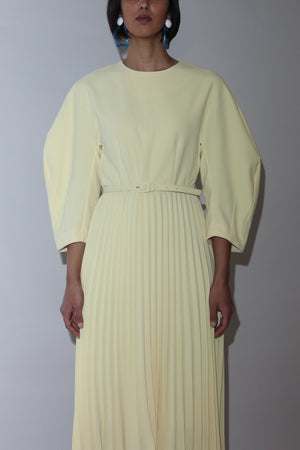 Pale Yellow Pleated Midi Dress.