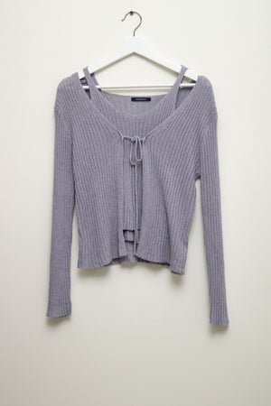 Grey Knit Cardigan Set