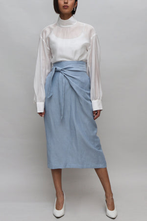 Blue Tied Linen Skirt